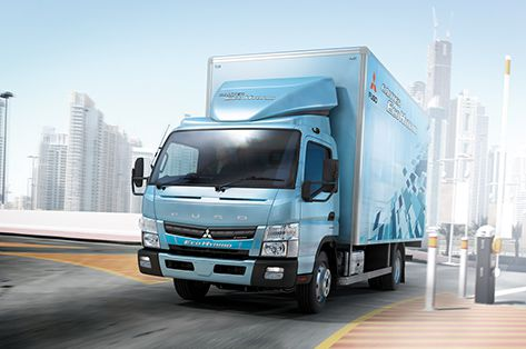 The new Fuso Eco Hybrid on the road