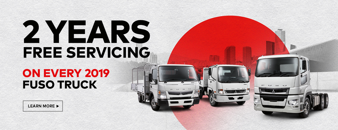 Fuso light duty trucks with red sun background