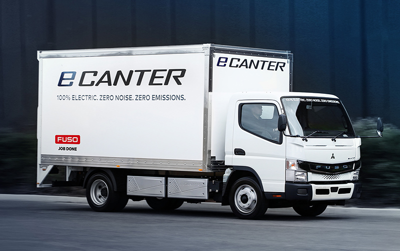A side on view of the new Fuso eCanter
